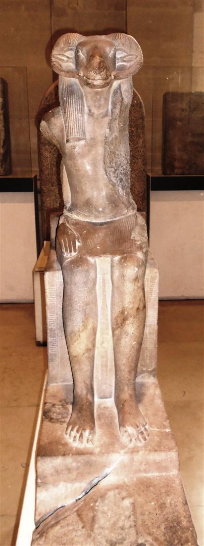 Ägyptischer Sonnengott Amun-Re mit Widderkopf. Amun-Re wurde auch Amen-Re genannt