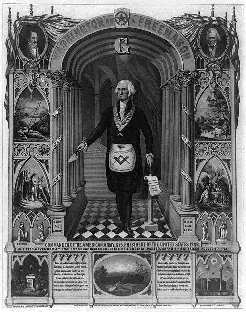 1732-1799 Freimaurer George Washington. Gründervater und 1. Präsident von Amerika. Hier auf einem Logenbild mit Pentagramm und Schlußstein