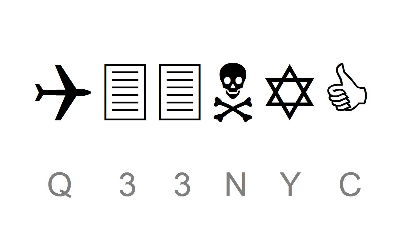 1990 - Die Schriftart Wingdings (engl., Flügeldellen) von Microsoft wurde mit böser Absicht entworfen. Sie zeigt den von Zionisten geplanten WTC-Anschlag. Q steht vielleicht für Al Qaida, 33 für den höchsten Freimaurergrad und NYC für New York