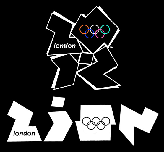 Olympia-Logo 2012 in London mit der heimlichen Lesart 'ZiON'