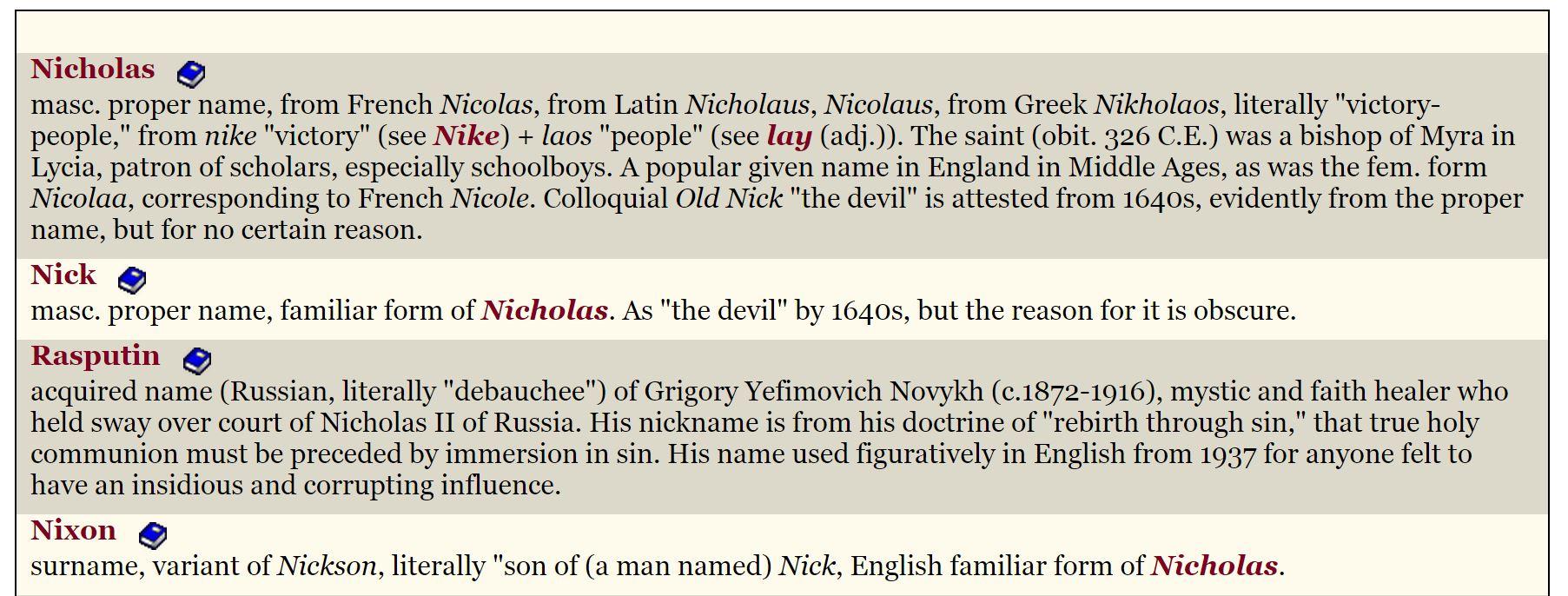 Pullach - das BND-Gelände (ehemaliges Villenviertel der höchsten Nazi-Elite) heißt Camp Nikolaus - 'Sieg über die Leute'. Die Abkürzung 'Nick' bedeutet auch 'the devil' (etymonline.com)