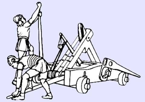 Römisches Katapult um Wurfgeschosse (Tele) abzuschießen