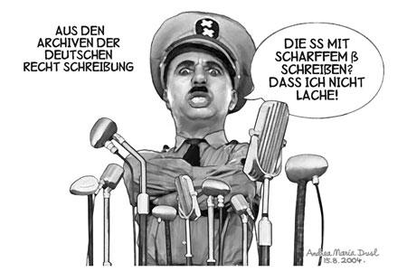 Warum wurden bei der deutschen Rechtsschreibreform (Neusprech) viele 'ß' zu 'ss'. Weil wir heute immer noch von Nazis regiert werden