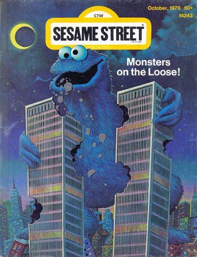 1976 - Das Comic-Heft Sesame Street mit dem Krümelmonster, dass die WTC-Türme auf ißt. Mit dem passenden Titel 'Monsters on the Loose'. 'CTW' rückwärts geschrieben heißt 'WTC' (World Trade Center).