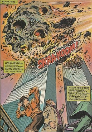 1979 - Marvel Comics. Ein Meteorit stürzt auf die beiden Hochhäuser.