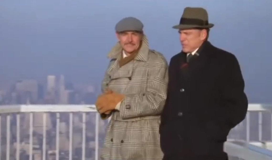 1982 - Der Titelname Flammen am Horizont könnte ein Hinweis auf das geplante WTC-Verbrechen sein. Sean Connery spielt einen Journalisten. Am Ende des Films beginnt der US-Präsident einen Krieg mit dem Nahen Osten. Hah!