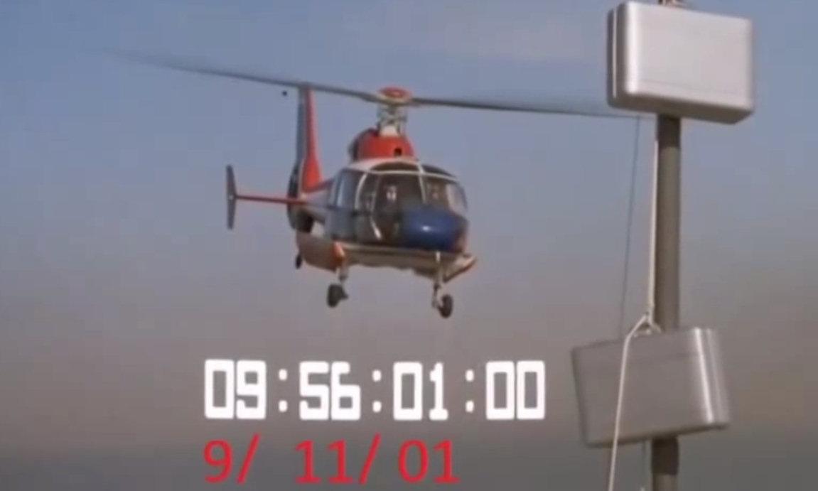 1982 - In dem Film 'Flammen am Horizont' wird das World Trade Center von Terroristen mit einer Atombombe bedroht. Die CIA ist in diesen Anschlag verstrickt. Der Bombencountdown zeigt das Datum des Anschlags