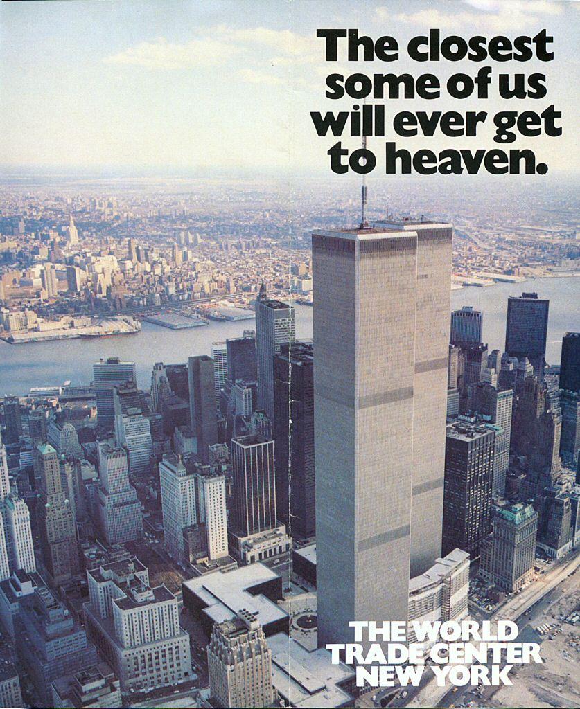 1984 Offiziell World Trade Center Brochüre. War dieser Spruch eine vorweg genommene Verhöhnung der 3000 Opfer?