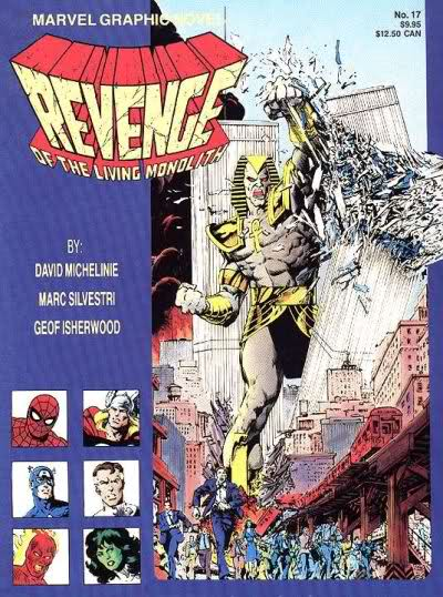 1985 - Marvel-Comic mit dem Titel Revenge of the Living Monolith (Marvel Graphic Novel No. 17). Ein pharaonenähnlicher Superheld zerschmettert mit der Faust einen World Trade Center Turm.