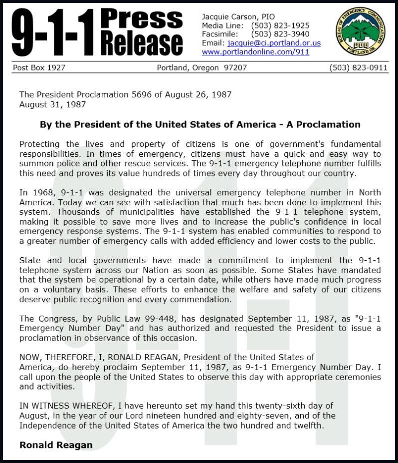 1987 - Präsidiale Erklärung Ronald Reagens über das Abhalten eines Gedenktages am 11. September 1987. Die Notruf-Nummer 911 wurde im Jahre 1968 eingeführt, also in der Zeit, in der das WTC gebaut wurde.