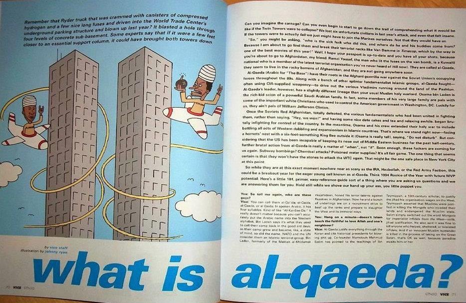 1994 - Beavis and But-Head Magazine. Das Heft berichtet über den Bombenanschlag auf die Twin Towers von 1993. Wie die Macher dabei auf zwei Flugzeuge kommen, die die Twin Towers umkreisen, bleibt wohl deren Geheimnis.