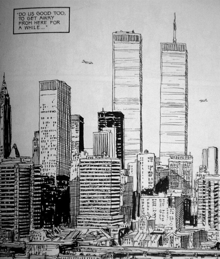"""1997 - Auf Seite 227 der Graphic Novel von John Wagner """"A History of Violence"""" sieht man, wie zwei Flugzeuge auf die Twin Towers zusteuern."""