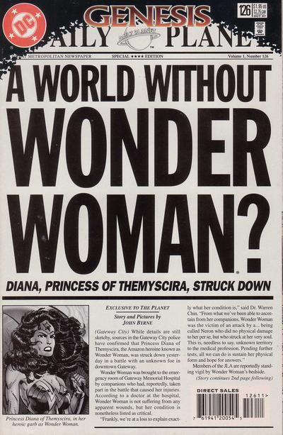 1997 - Comic-Heft Wonderwomen, Ausgabe Nr. 126 vom 28. August 1997 kündigt den Tod von Prinzessin Diana (31. August 1997) an. Der Autor heißt John Byrne.