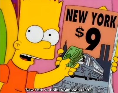 1997 - Die Simpsons mit der Folge 'Homer und New York'. Darin fahren die Simpsons mit dem Bus, anstatt so wie immer, mit dem Flugzeug zu fliegen. Das Ticket kostet 9 Dollar. Graphisch ergibt das Bild 911 Coup on.