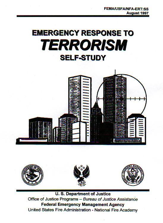 1997 - Handbuch der US-amerikanischen Katastrophen(schutz)behörde FEMA über Notfallmaßnahmen bei Terrorismus. Auf dem Deckblatt ist ein Turm des World Trade Centers mit einem Fadenkreuz darauf abgebildet.