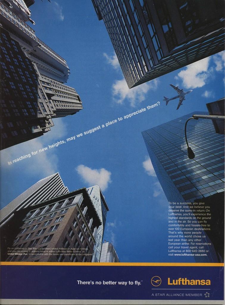 2001 - Am 11. September lag in den New Yorkern Kiosken die Zeitschrift 'New Yorker' aus, in dem diese Lufthansa Werbeanzeige abgedruckt war.
