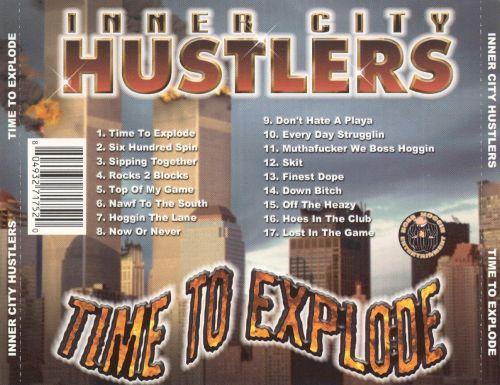 """2001 - Die Musikband Inner City Hustlers mit dem Album """"Time to Explode"""". Die Kaltschnäuzigkeit dieses rückseitigen Albumcovers lässt einen erschaudern."""