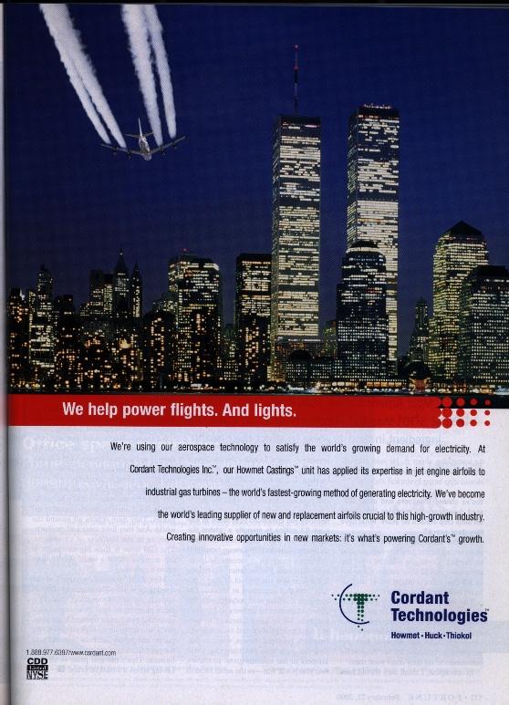 2001 (Juli) - In dieser Bloomberg Businessweek Zeitschriftenwerbeung von Cordant Technologies fliegt ein Chemtrail-Flugzeug an den Twin Towers vorbei.