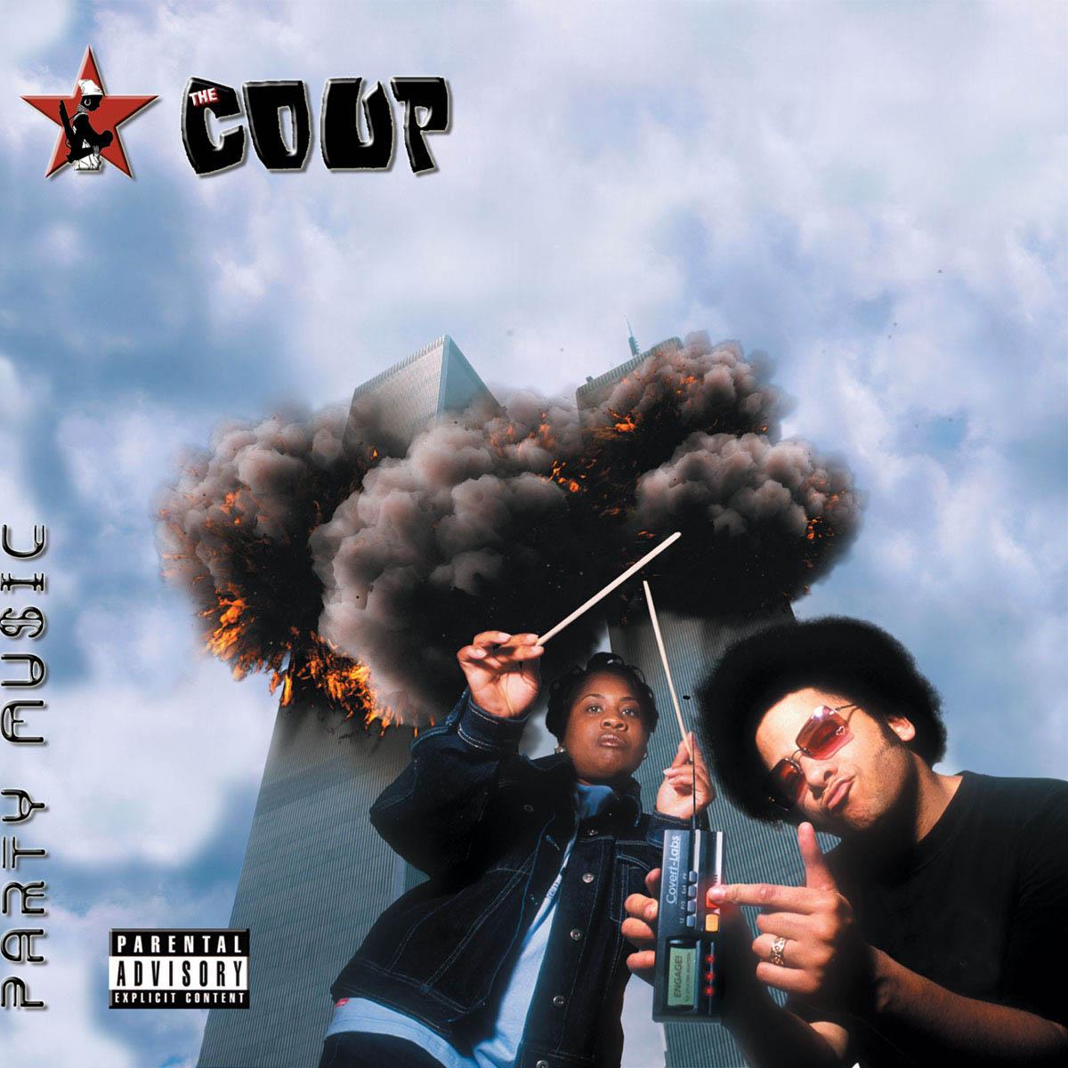 """2001 (Juni) - Die Musikband """"Coup"""" mit dem Album """"Party Music"""". Das Cover zeigt, wie Boots Riley mit einem Stimmgerät die World Trade Center Türme sprengt. Das Album-Cover wurde dann aber doch nicht veröffentlicht."""