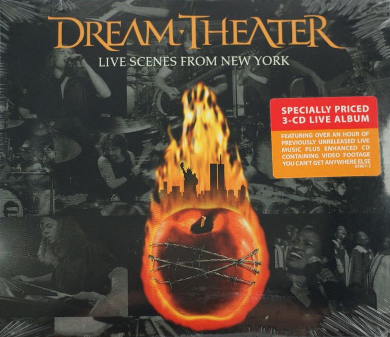 2001 (Sept) - Die Musikgruppe Dream Theater (Traumtheater) mit dem Album 'Live Scenes from New York'. Mit brennenden WTC-Türmen. Die Band veröffentlichte das Album am 11. September 2001.