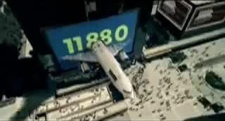 2001 (Sept.) - Der deutsche Werbeclip 11880 wurde zwei Tage vor dem WTC-Anschlag ausgestrahlt. In dieser Szene rast ein Passagierflugzeug durch ein Hochhaus und durchbricht die Werbetafel so, dass eine 119 entsteht.