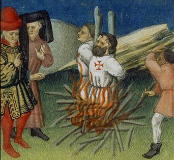 Die Hinrichtung der Templer Jacques de Molay und Godefrois de Charny im Jahre 1314.