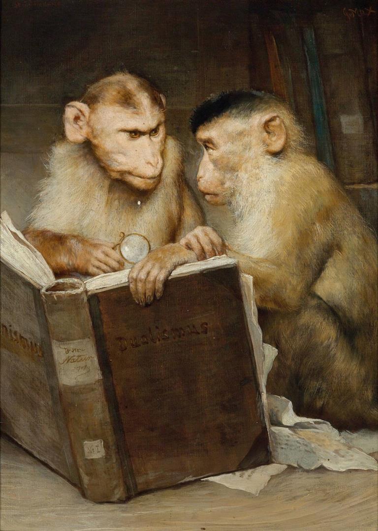 Gemälde 'Die Gelehrten' von Gabriel von Max - je höher die universitären Weihen, desto affiger die Würdenträger