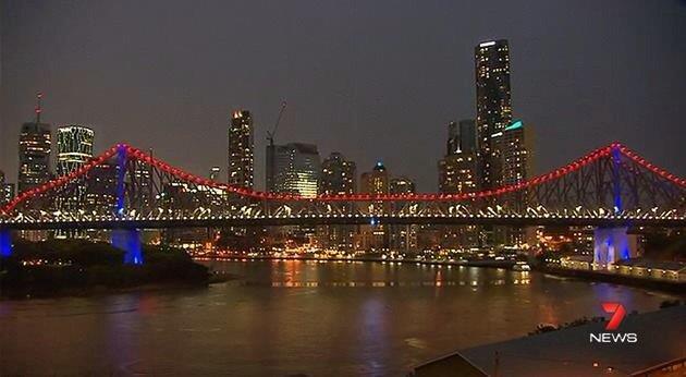 Illuminierte Gebäude - Australien, Brisbane, Story Bridge