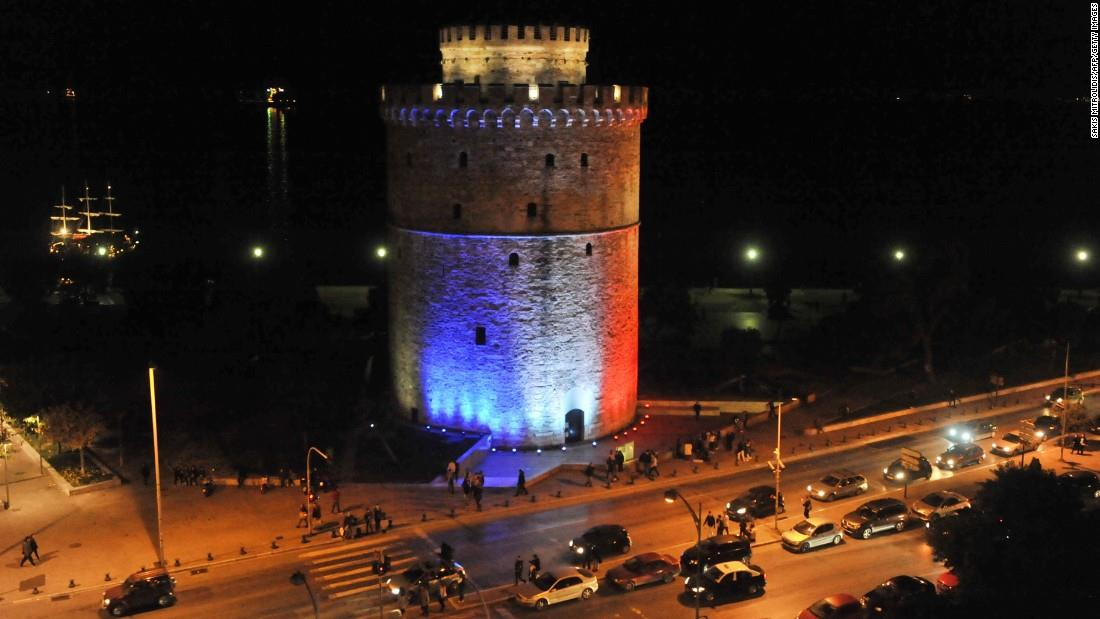 Illuminierte Gebäude - Griechenland, Thessaloniki, Weißer Turm