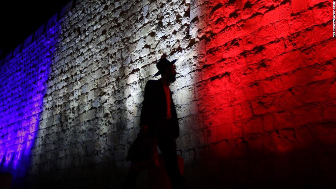 Illuminierte Gebäude - Israel, Jerusalem, Stadtmauer