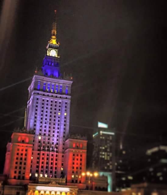 Illuminierte Gebäude - Polen, Warschau, Kulturpalast