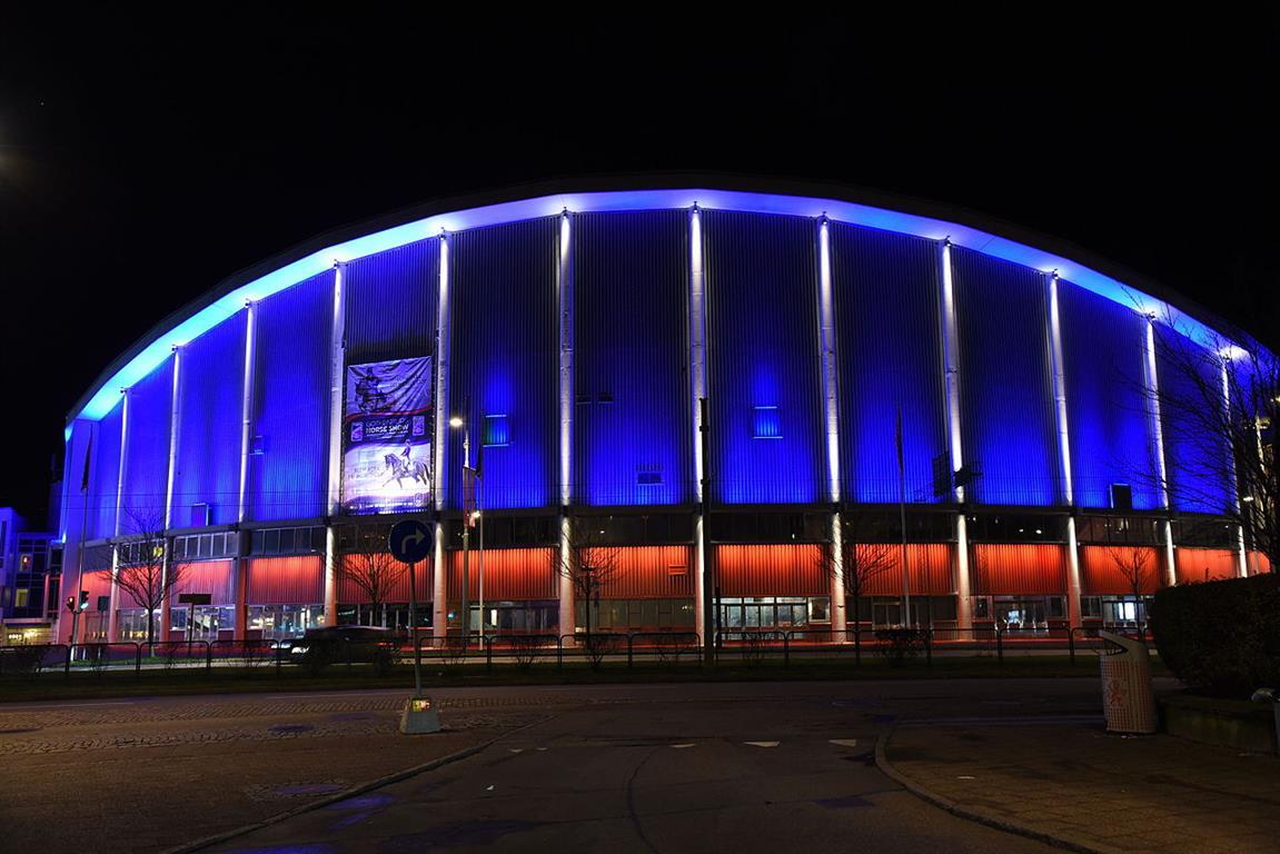 Illuminierte Gebäude - Schweden, Göteborg, Arena Scandinavium