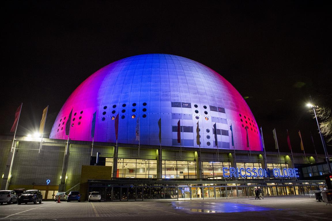 Illuminierte Gebäude - Schweden, Stockholm, Ericsson Globe Arena