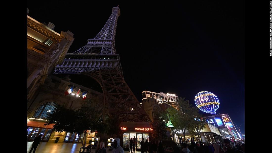 Illuminierte Gebäude - USA, Nevada, Las Vegas, nachgebauter Eiffelturm ausnahmsweise ohne Beleuchtung
