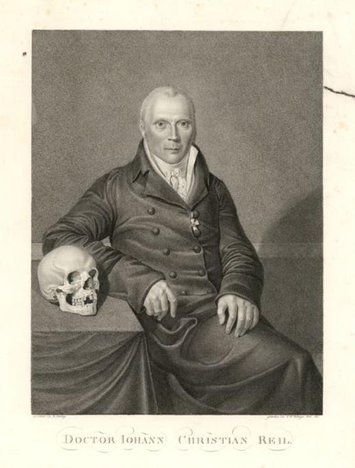 """1759-1813 Freimaurer Johann Christian Reil. Begründer der Psychatrie. Mitglied der Leopoldina und der Bayrischen Akademie der Wissenschaften. Freimaurerloge 1782 in Halle """"Zu den drei Degen""""."""