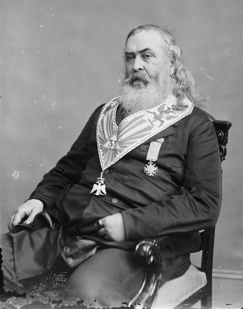 1809-1891 Freimaurer Albert Pike, mit 33 Grad Schärpe. Amerikanischer General und Autor. War der wichtigste amerikanische Freimaurer des 19. Jahrhunderts und Mitbegründer des Ku-Klux-Klans.