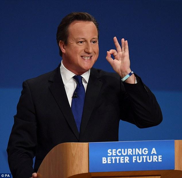 1966 Jude David Cameron. Englischer Premierminister und Parteivorsitzender der Conservative Party. Mit dem 666-Handzeichen