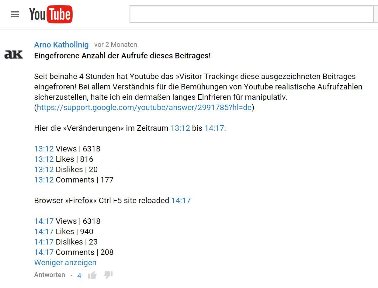 Youtube-Kommentar von Arno Kathollnig über den Klickzahlenbetrug bei dem Video 'KenFM zeigt - Die dunkle Seite der Wikipedia'.