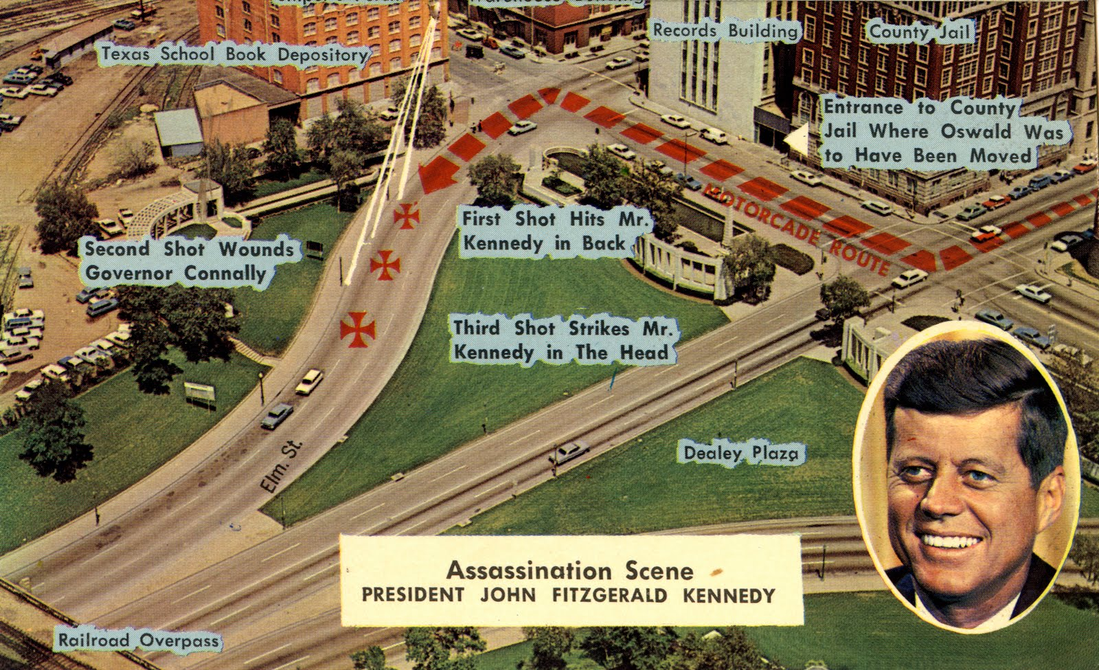 Dealey Plaza in Dallas, Texas - Ort an dem John F. Kennedy ermordet wurde(Postkarte).