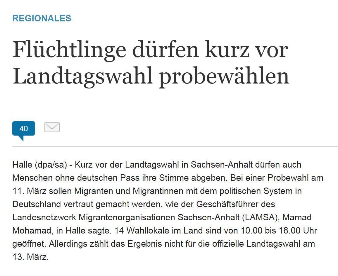 Flüchtlinge dürfen kurz vor Landtagswahl probewählen (Die Welt, 6. Feb. 2016)