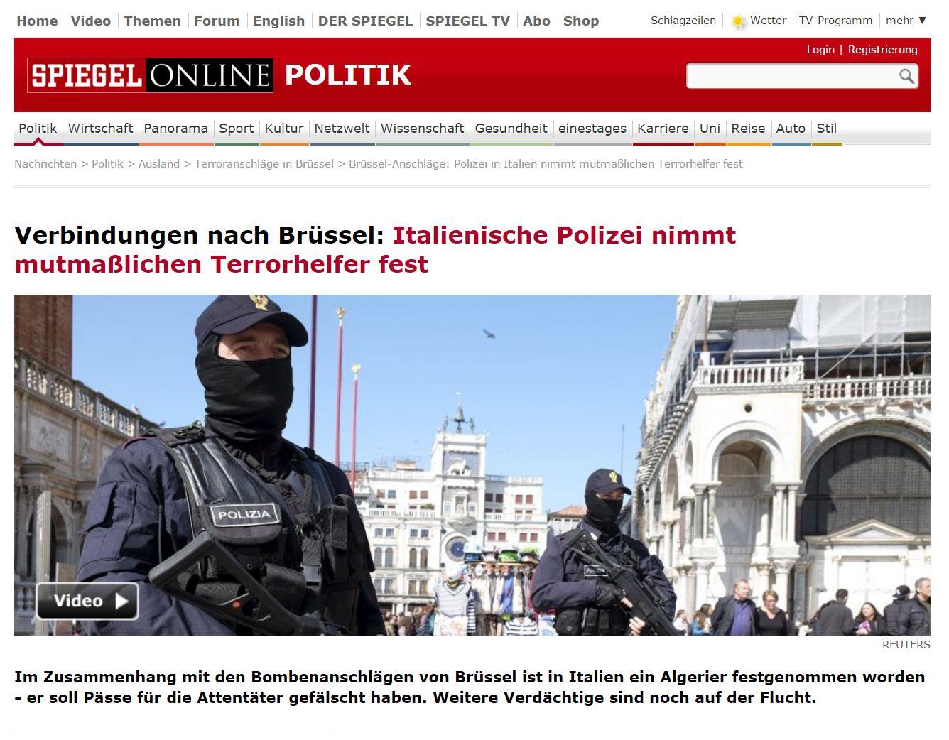 Italienische Polizei nimmt mutmaßlichen Terrorhelfer fest