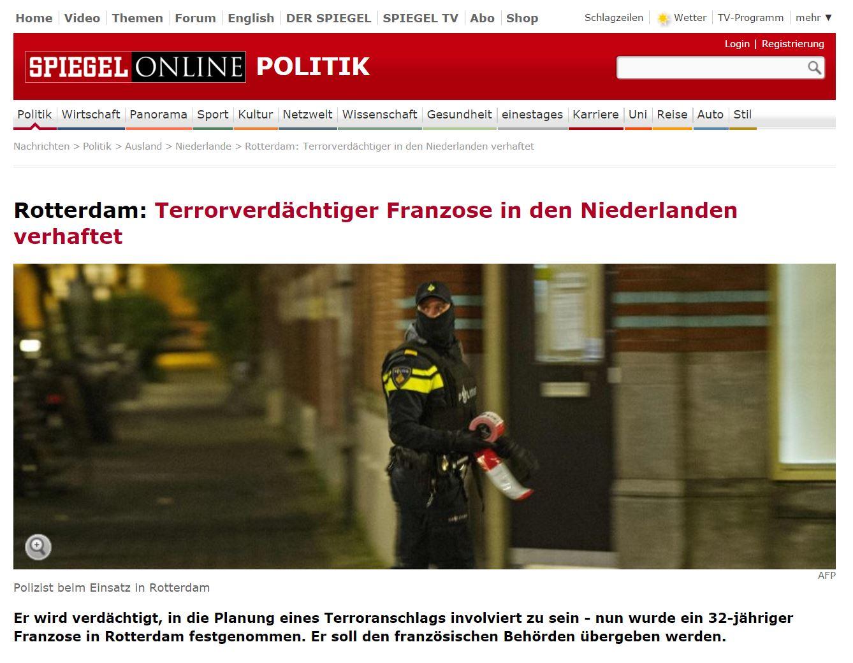 Terrorverdächtiger Franzose in den Niederlanden verhaftet